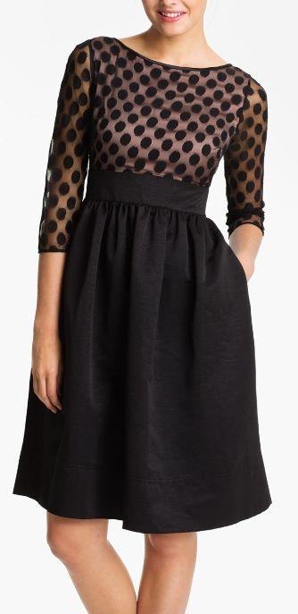 A polka dot twist on the the little black dress