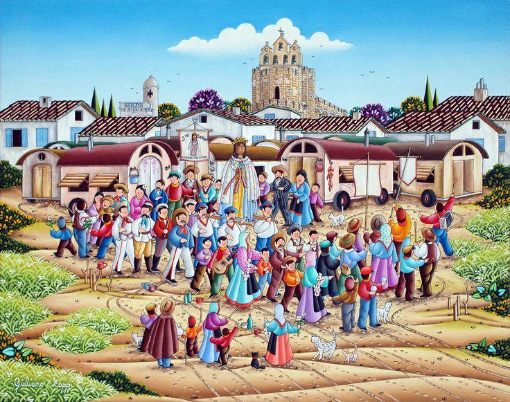 """""""Santa Sarah"""" Cm 50x40 - Olio su tavola. La scena rappresenta la statua di Santa Sarah (Egiziana) Patrona  degli Zingari portata in processione ogni anno nel villaggio di: Les Saintes Mairies de la Mer, in Camargue (Francia del Sud)"""