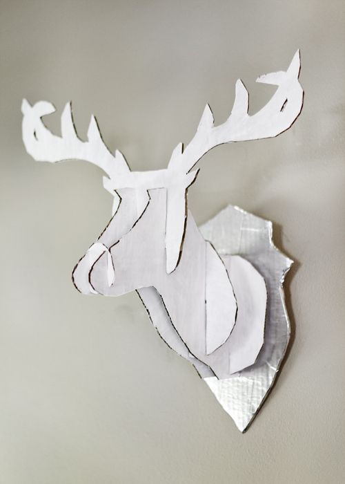 DIY faux taxidermy deer from cardboard or foam core: