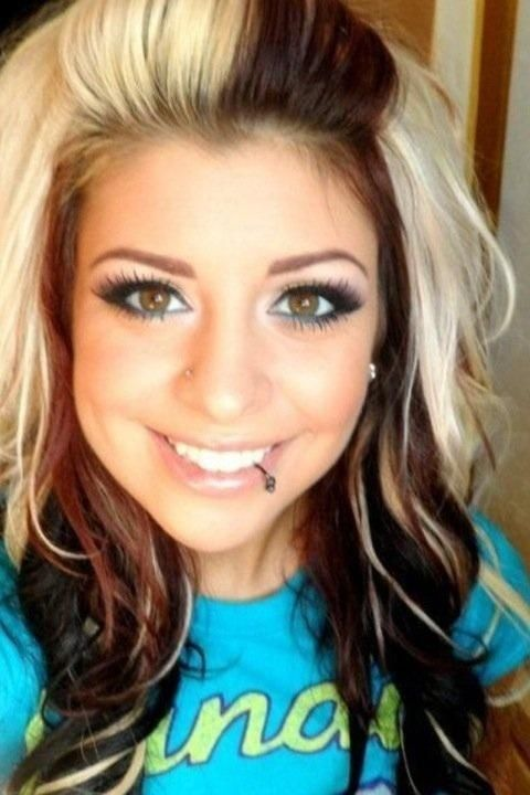 Sweet Long Wavy Black and Blonde Hairstyle