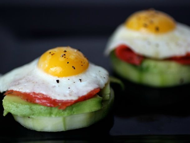 Quail Egg Canapés with Smoked Salmon, Avocado and Pickled Cucumbers. #recipe #entertaining