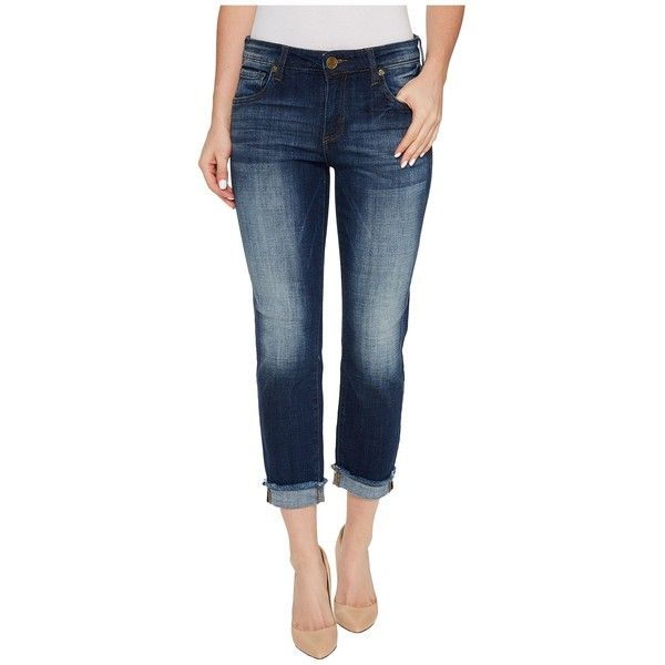KUT from the Kloth Amy Crop Straight Leg-Roll Up Frey in Celebration... ($89) ❤ liked on Polyvore featuring jeans, rolled up jeans, frayed cropped jeans, cut off jeans, frayed-hem jeans and zipper fly jeans