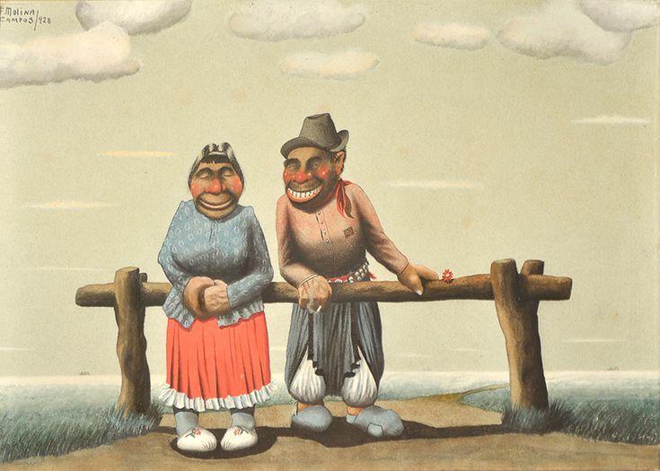 """MOLINA CAMPOS, Florencio Argentino 1891-1959 """"CHAMULLANDO"""" Témpera. Firmada F. MOLINA CAMPOS y fechada """"928"""" arriba a la izquierda. Medidas: 32 x 48,5 cm"""