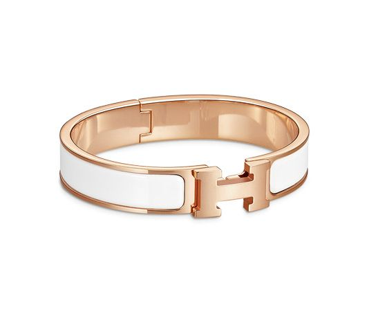 "Clic H Hermes narrow bracelet in enamel Rose gold plated hardware, 2.25"" diameter, 7.5"" circumference, 0.5"" wide.<br /><br />"