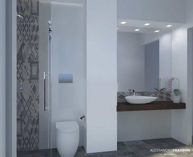 Old mood bathroom -  small bathroom in Catania  Design arch Alessandro Frasson marca corona  tiles terra on wall and cerim memory on the floor