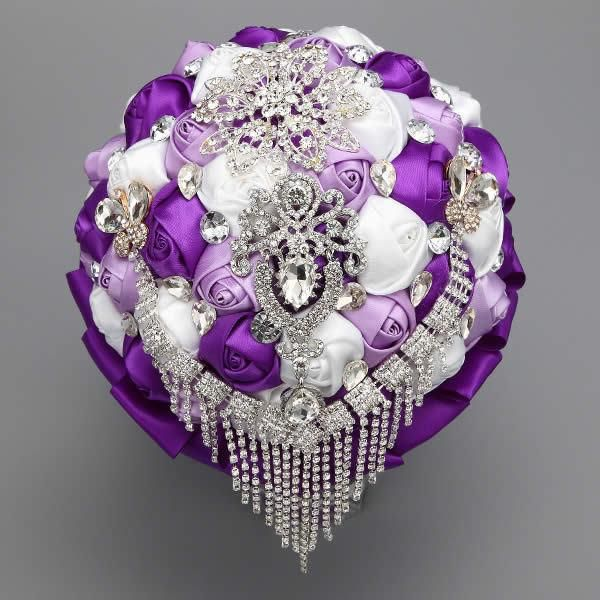 Cascading Waterfall Crystal and diamond  brooch bouquet