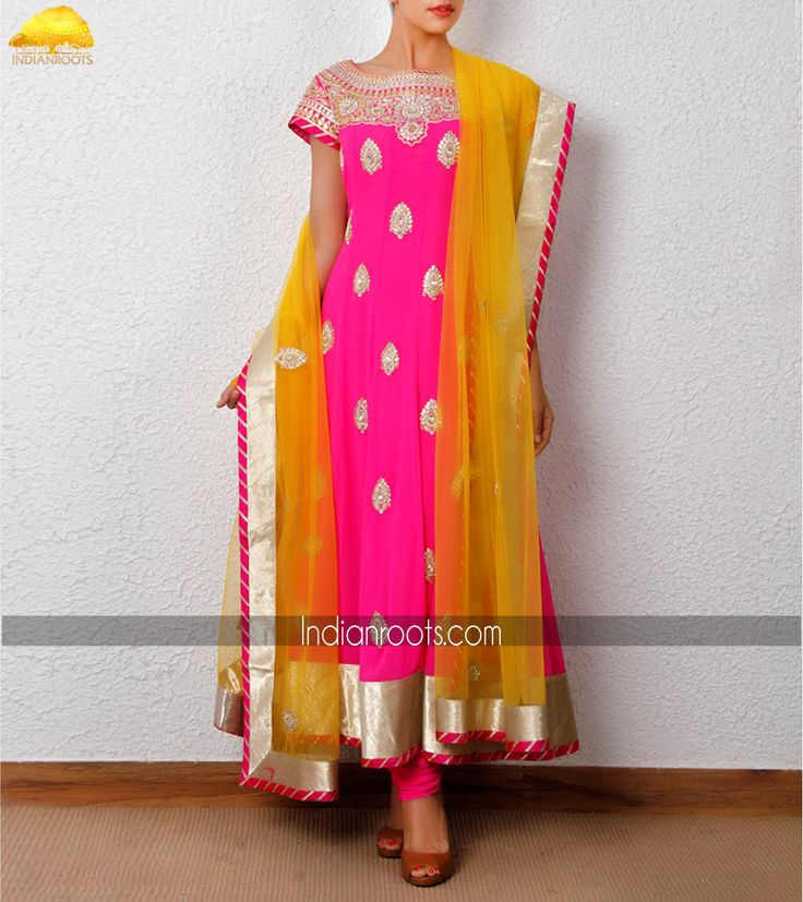 Pink georgette anarkali suit featuring gotta patti by Zardozi on Indianroots.com