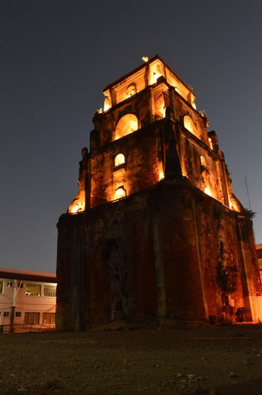 The Sinking Bell Tower of Laoag (Bantay Bell Tower), Ilocos Norte late at night   85 meters away from its church which is the St. William's Cathedral