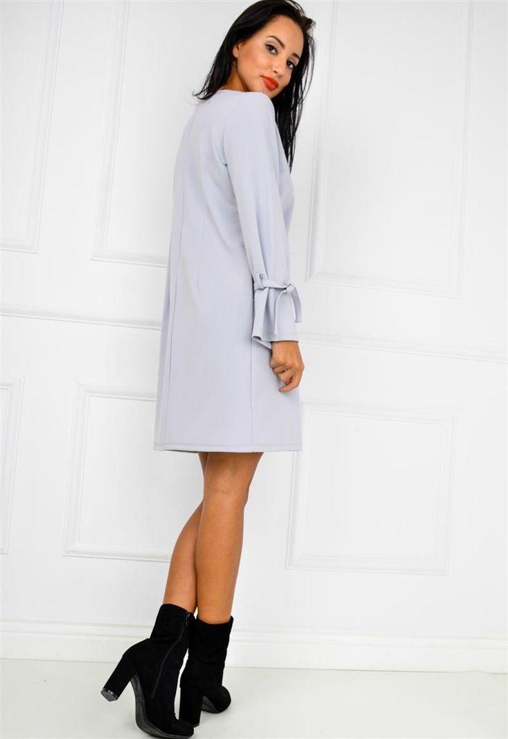Gładka trapezowa sukienka bufiaste rękawy, Ona Odzież Sukienki | Sukienki.shop