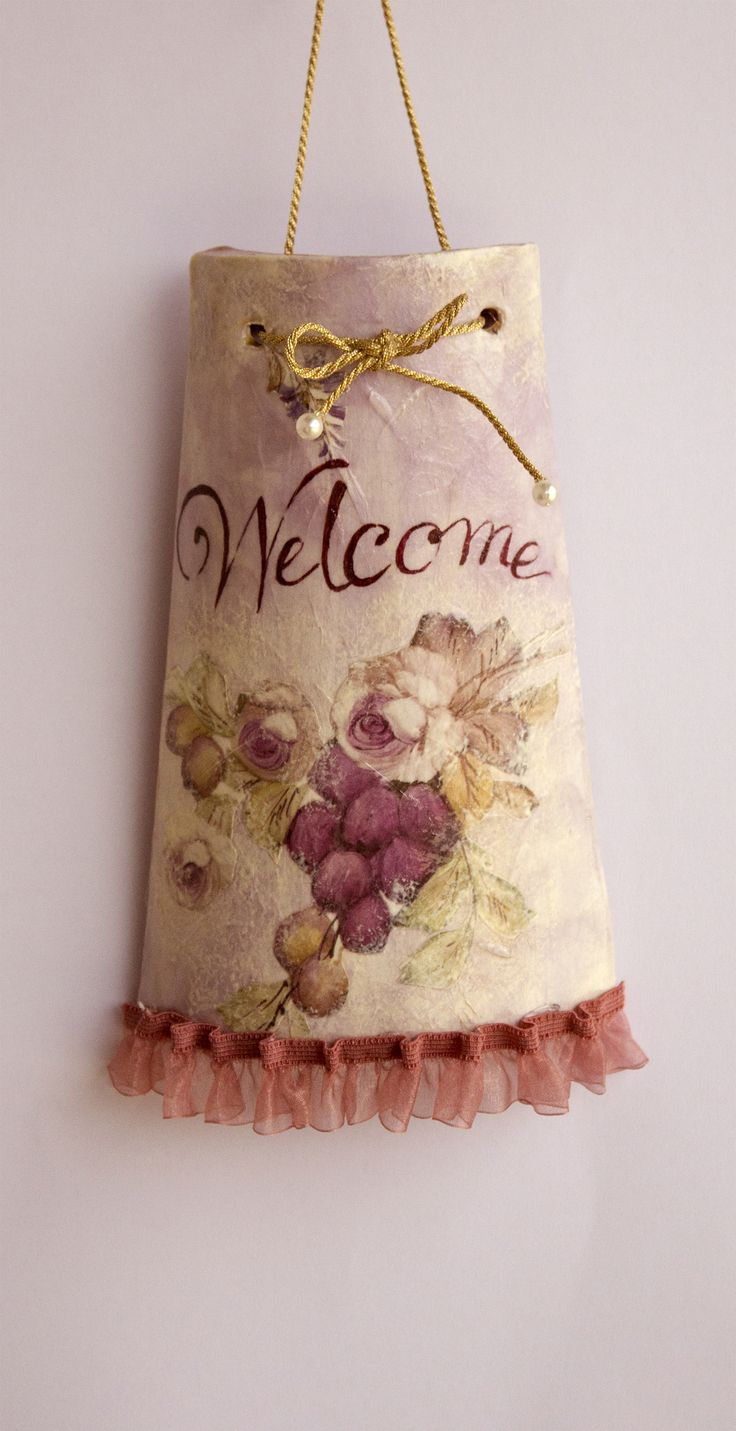 Mini Welcome Tile - Decoupage with rice paper