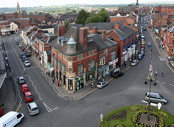 Leek town centre before the roundabout was removed and replaced with a shared space