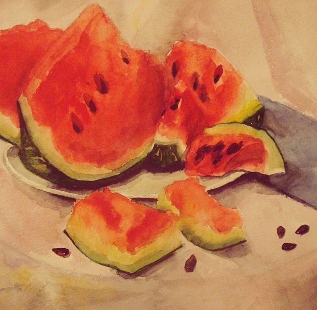 Watermelon. Watercolor.