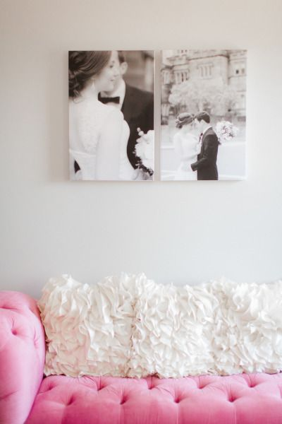 Romantic couch and wall portraits