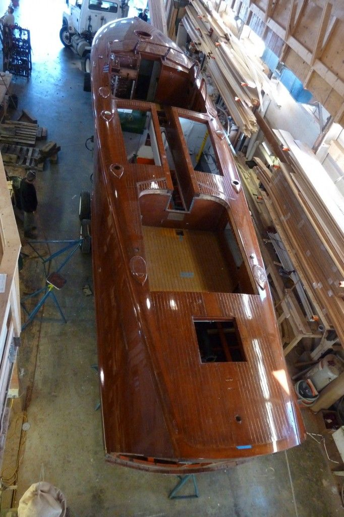 The Pardon Me runabout under restoration @ Brooklin Boat Yard in Maine 2013