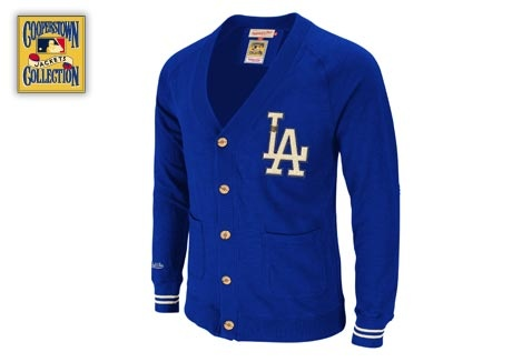 Los Angeles Dodgers Head Coach Cardigan. Sold out at Mitchell and Ness, but available @ Dodger Stadium for $138.
