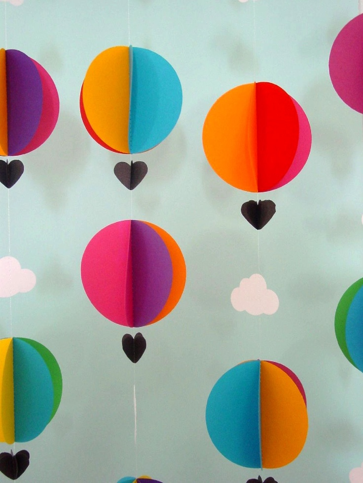 Garland - Hot Air Balloons & Clouds - 3D-Mobile--Crib Mobile-Baby-Nursery Decor-Kids Room-Children-Bright Colours-Baby Shower Gift-Paper. $12.95, via Etsy.