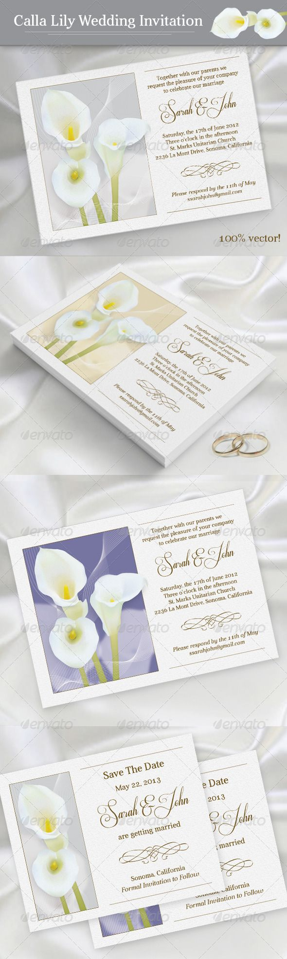 wedding invitation template themeforest%0A Calla Lily Wedding Invitation  GraphicRiver This set includes printable  templates for the following items