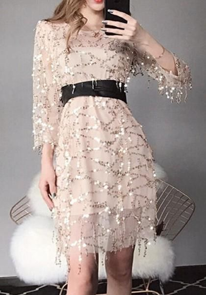 85ffdfaf55c5 Beige Patchwork Sequin Grenadine Belt Lace-up Bodycon Elegant Party Midi  Dress
