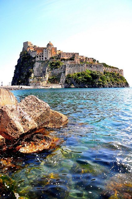 Aragonese Castle - Ischia, Italy. Ischia's our favorite place to travel in the world!  No cruise ships, no designer boutiques, only fishing villages that have turned into resort towns.