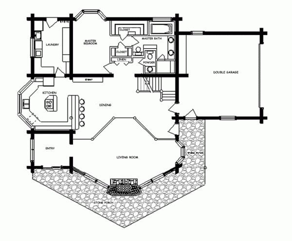 Image of Inimitable One Bedroom Log Cabin Floor Plans with Open Kitchen Dining Living Room Floor Plans