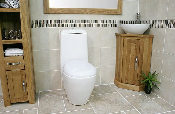 corner sink small bathrooms | Corner Bathroom Cabinet Small Oak Cloakroom Vanity Unit Basin Bowl ...