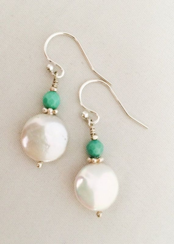 White Coin Pearl and Opal Earrings on .925 by MyPrettyChicBoutique