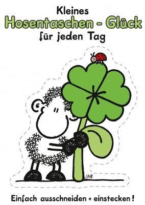 kleeblatt schaf sheepworld postkarte mypostcard