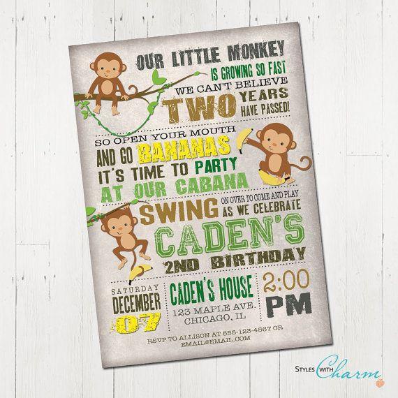 Monkey Birthday Invitation, monkey invitation, jungle invitation, jungle birthday, 1st birthday invitation, boy first birthday, printable
