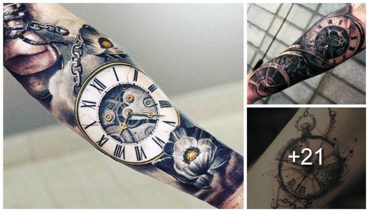 Increíbles y elegantes tatuajes de relojes de bolsillo y su significado, este tipo de relojes nos cuenta una gran historia atravez del tiempo