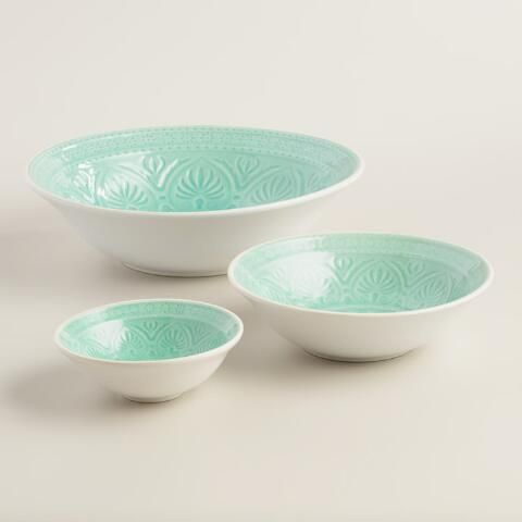 Our embossed, glazed aqua bowls bring color to every meal. The right size for tidbits and ice cream, they layer well with our Henley collection or your own everyday dinnerware.