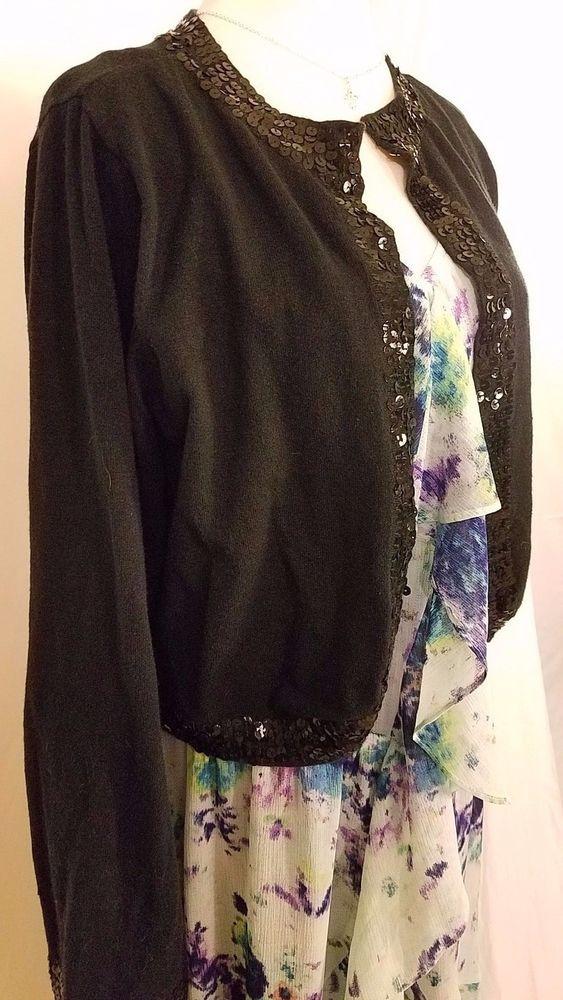 torrid 2 18w 20w black ramie cotton w/sequins short dressy sweater cardi shrug #Torrid #Cardigan #Formal