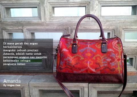 Indonesian hand woven bag  Tas tenun ikat endek Angsa Dua