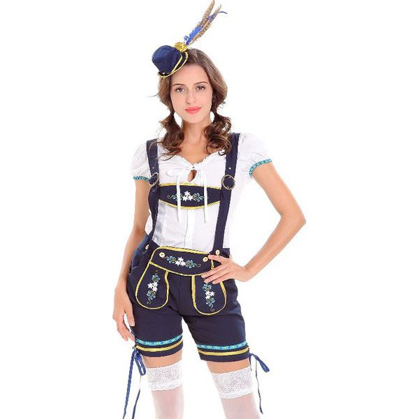 Dark Blue German Oktoberfest Lederhosen Beer Girl Costume (120 BRL) ❤ liked on Polyvore featuring costumes, white halloween costumes, lederhosen costume, saloon gal costume, white costumes and beer wench costume