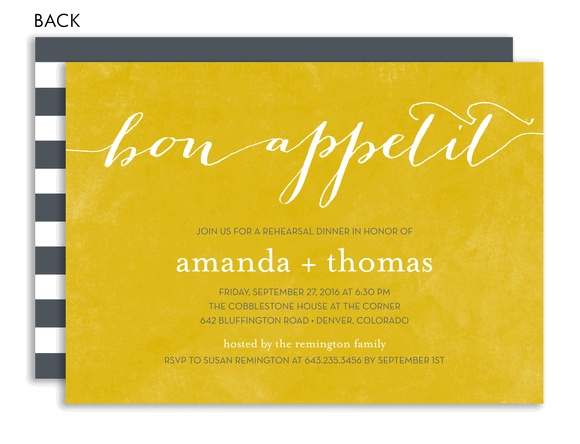 Bon Appetit Yellow Rehearsal Dinner Invitation  by Noteworthy Collections