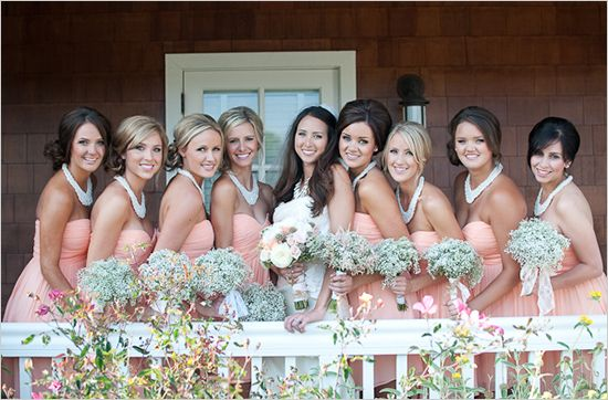 Our luminous bride Ally and her bridesmaids in their dresses from Mary Me Bridal. Styled by our consultant Hope Stanley | Blair Nicole Photography. Featured on the wedding blog http://www.weddingchicks.com/2012/10/31/peach-gray-and-white-wedding-ideas/#