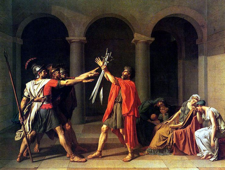 "The Oath of the Horatti, (1748) Jacques-Louis David, Oil on Canvas, 10' 10×13'11"", Musee du Louvre."