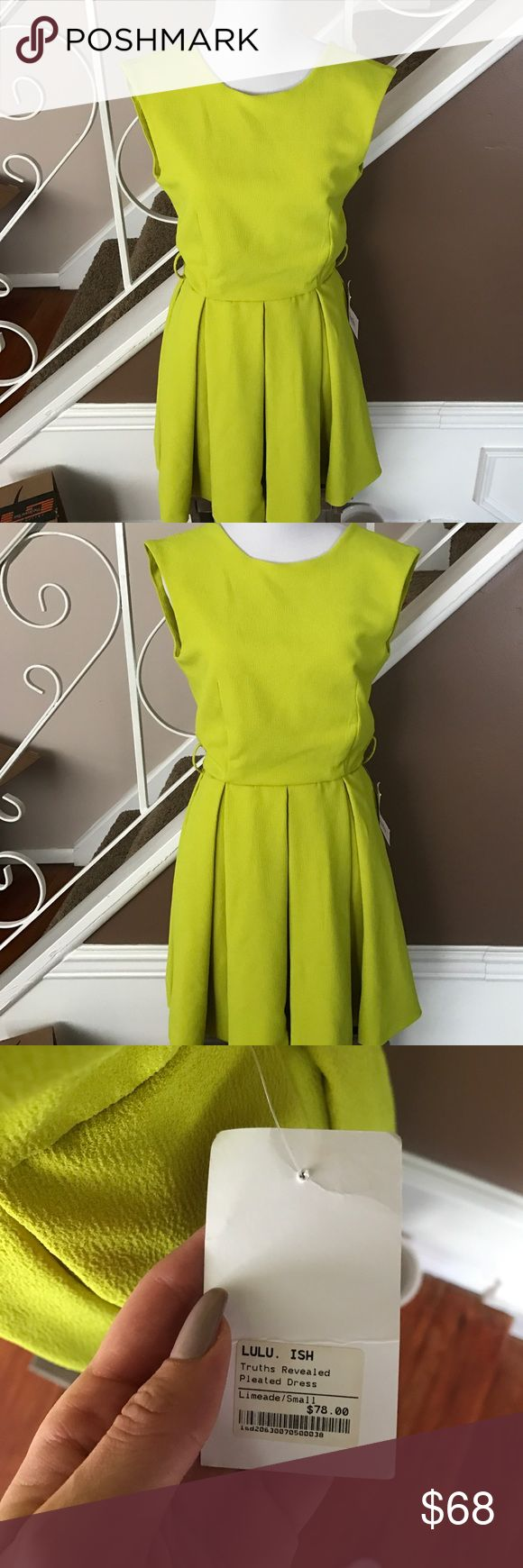 Caribbean Queen Truth Revealed Pleated Dress Caribbean Queen Truth Revealed Pleated Dress in Limeade. Brand new. Purchased at a local boutique. Caribbean Queen Dresses