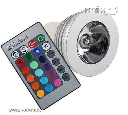 Spot RGB LED izzó MR16 TÁVÍRÁNYÍTÓS Színváltós !!! - 2100 Ft - Nézd meg Te is Vaterán - Izzó, led, égő - http://www.vatera.hu/item/view/?cod=1758672659