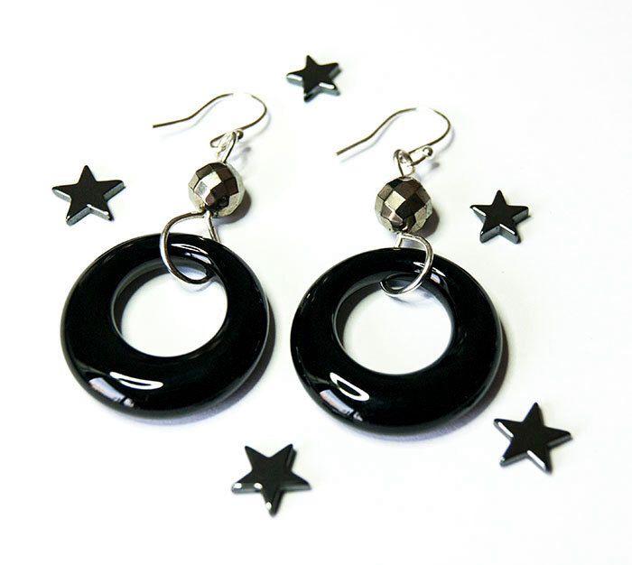 Black onyx loop earrings with pyrite, modern boho, hoop earrings, ladies stocking filler by boutiqueboheme on Etsy https://www.etsy.com/listing/259310722/black-onyx-loop-earrings-with-pyrite