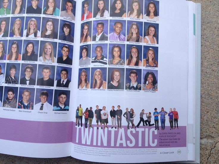 one year our yearbook had a pic of all the twins sitting on the staircase by the auditorium.