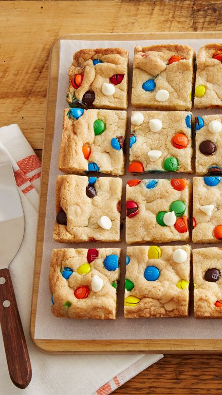 Colorful candies, white vanilla baking chips and our sugar cookie mix makes these cookie bars a snap to make, bake and devour.