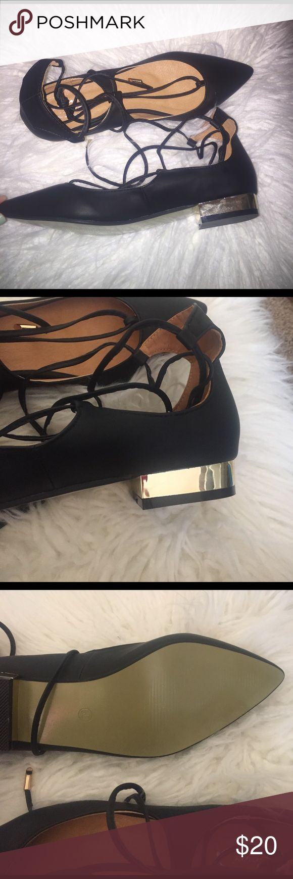Blogger style pointed ballet flat Very cute pointed ballet flat. These lace up and have a shiny gold bottom. Never worn. Leyei Shoes Flats & Loafers