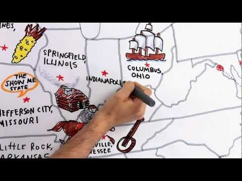 Tour the 50 states video. Use the map, drawings, and accompanying music to review U.S. geography and state capitals.