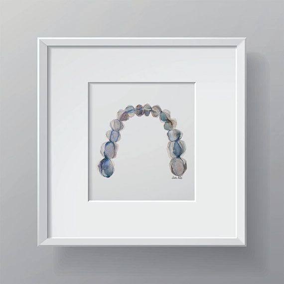 This piece is a delightful print of an original watercolor I made depicting an occlusal view of the mandibular teeth. The cool gray, blue and green
