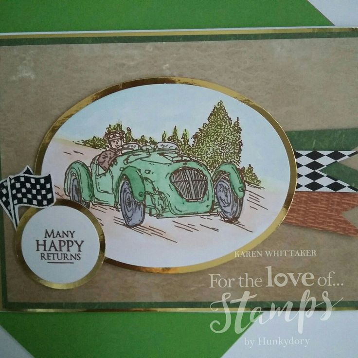 For The Love of Stamps Classic Cars stamp set #fortheloveofstamps #hunkydorycrafts #classiccars #vintage #stamping #stamps #kuretakezig #cards #cardmaking #handmade