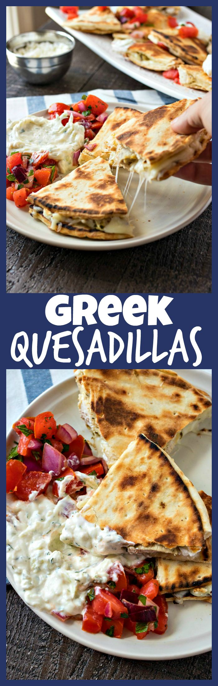 Greek Chicken Quesadillas – Chewy flatbread covered in mozzarella and feta cheese and Greek-marinated chicken and grilled to perfection. Served with a tomato salad and homemade tzatziki sauce.