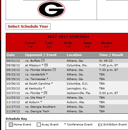 2012 University of Georgia Football Schedule http://www.discoverlakelanier.com