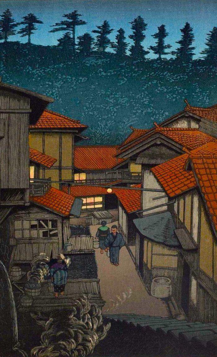 Image result for feudal japan village   Japanese woodblock printing, Japanese  artwork, Japan landscape