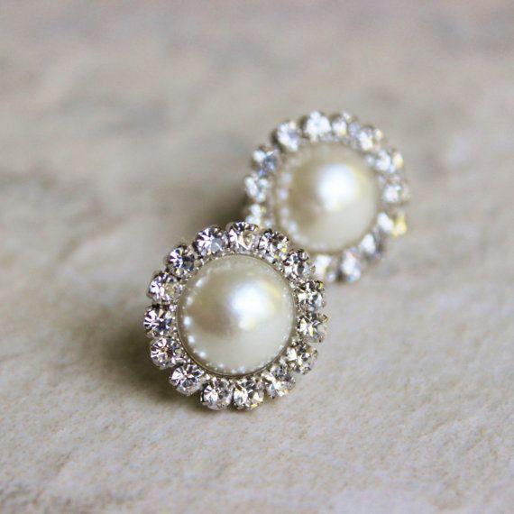 Pearl Crystal Halo Bride Stud Earrings