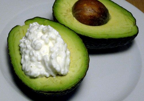 """cottage cheese avacado - another pinner says """"One of my favorite snacks. High in protein, fiber, unsaturated fat..."""""""